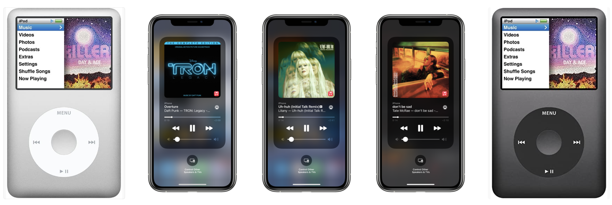 IPod Classix and iOS 14 3 mediaplayer controls